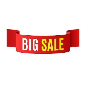 Banner de gran venta. listón rojo. ilustración.