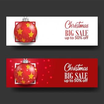Banner de gran venta de navidad