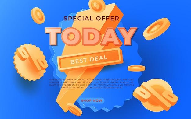 Banner de gran venta, esta plantilla de banner de publicidad de oferta especial de fin de semana, ilustración vectorial
