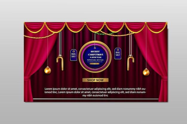 Banner de gran venta de promoción de feliz navidad de lujo