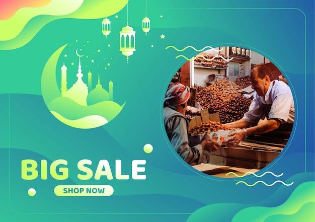 Banner de gran venta de ramadán