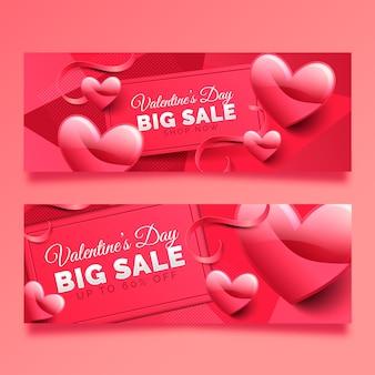 Banner de gran venta de san valentín con corazones y cintas