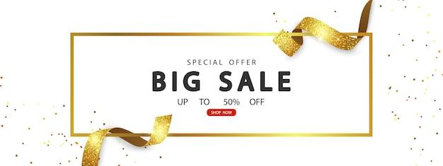 Banner de gran venta, tarjeta con fondo de cinta dorada plantilla de marco de brillo.