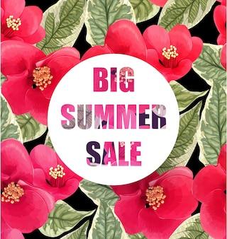 Banner de gran venta de verano con flores tropicales y hojas.