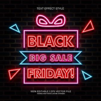 Banner de gran venta de viernes negro con efectos de texto de neón