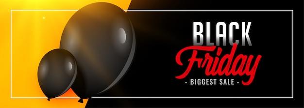 Banner de gran venta de viernes negro encantador con globo