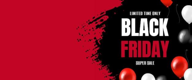Banner de gran venta de viernes negro con globos