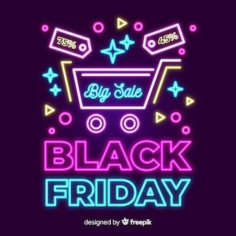 Banner de gran venta de viernes negro de neón