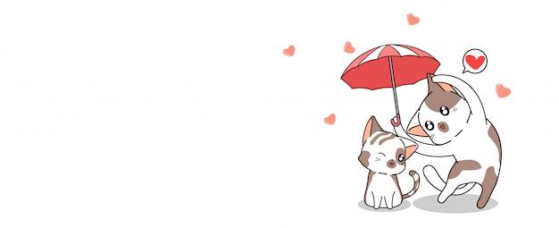 Banner greeting kawaii cat es un paraguas para proteger al otro gato con amor