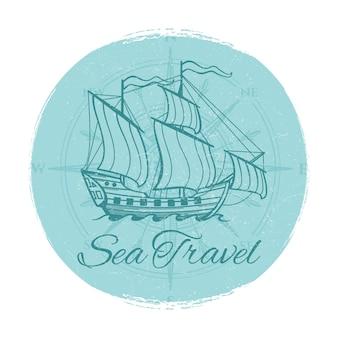 Banner de grunge de viajes por mar. diseño de emblema de barco antiguo