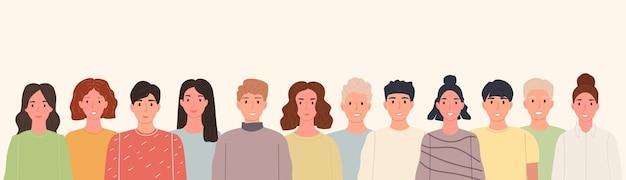 Banner con grupo de personas sonrientes de pie juntos en línea en beige. retrato, feliz, multitud, personas