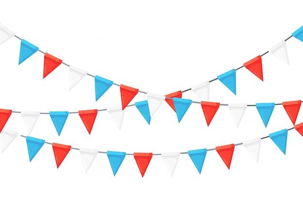Banner con guirnalda de banderas y cintas del festival de color, empavesado. fondo para celebrar la fiesta de cumpleaños feliz, carnaval, feria. diseño plano