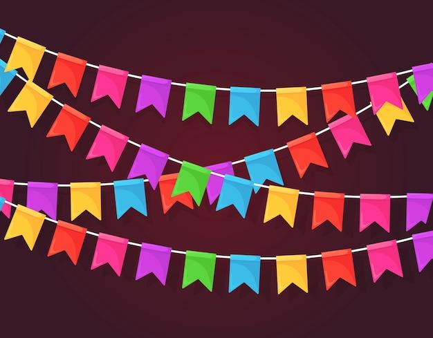 Banner con guirnalda de banderas y cintas del festival de color, empavesado.