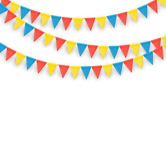 Banner con guirnalda de banderas y cintas. fondo de fiesta para fiesta de cumpleaños, carnava.