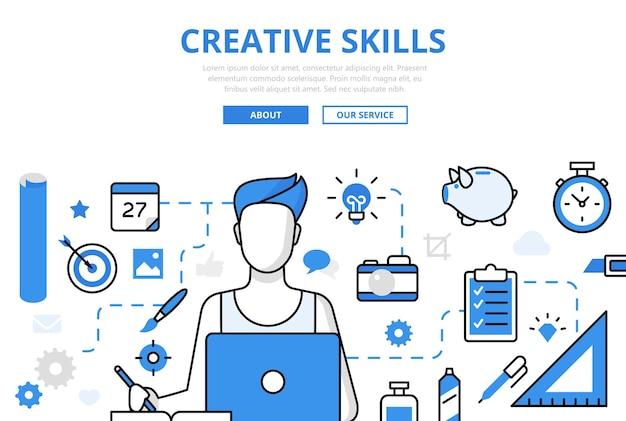 Banner de habilidades creativas en estilo plano
