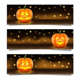 Banner de halloween con calabaza y espacio de copia. tres pancartas horizontales.
