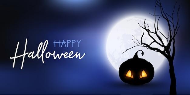 Banner de halloween con calabaza espeluznante contra el cielo iluminado por la luna