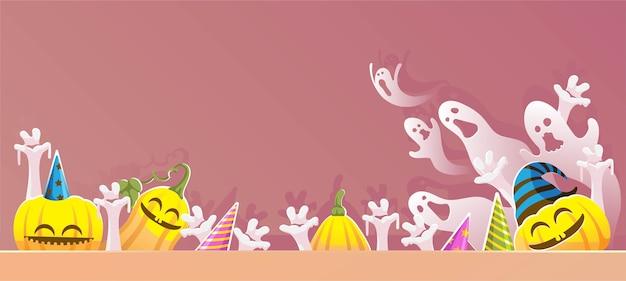 Banner de halloween. calabazas y fantasmas.