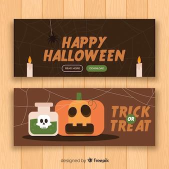 Banner de halloween en diseño plano