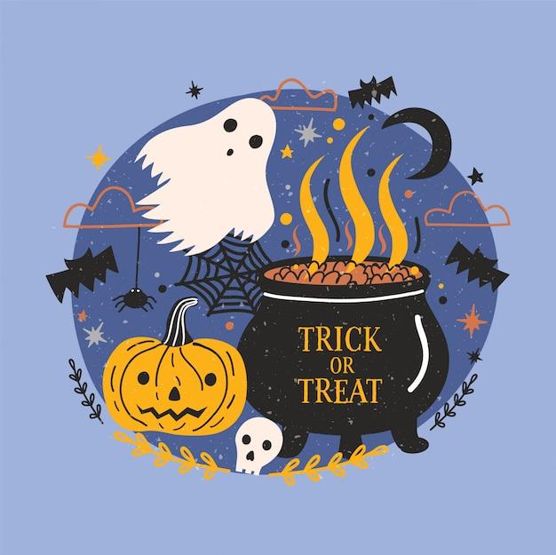 Banner de halloween con fantasma espeluznante divertido, calabaza o jack-o-lantern, cráneo y olla de bruja con poción de elaboración contra el oscuro cielo nocturno estrellado en el fondo. truco o trato. ilustración de dibujos animados.