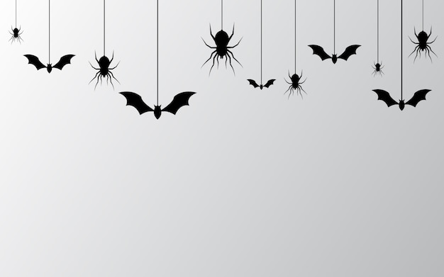 Banner de halloween con fondo de arañas