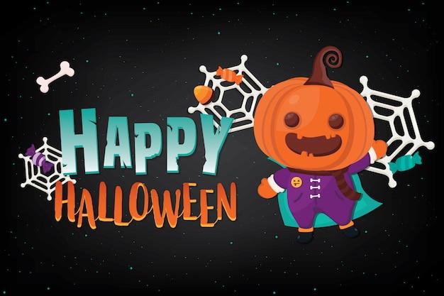 Banner de halloween ilustración con decoración en oscuridad
