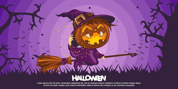 Banner de halloween con ilustración de disfraz de bruja de halloween
