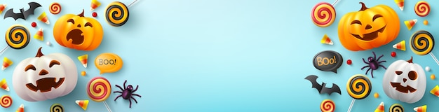Banner de halloween con linda calabaza de halloween, murciélago, araña y caramelo en azul claro