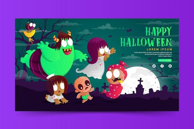 Banner de halloween con el lindo fantasma indonesio