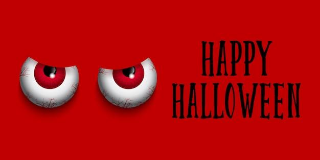 Banner de halloween con ojos malvados