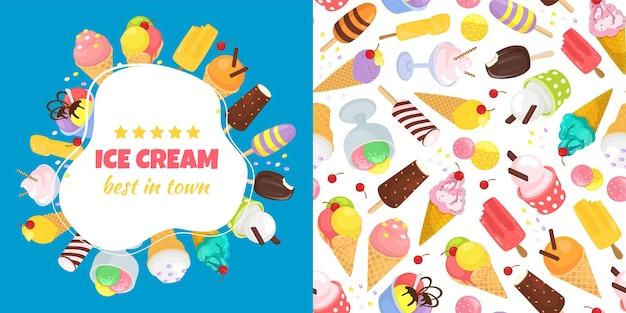 Banner de helado y patrones sin fisuras