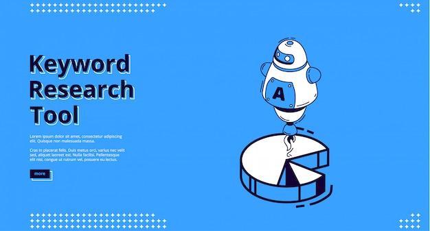Banner de herramienta de investigación de palabras clave con iconos isométricos