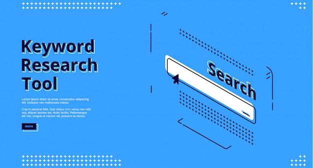 Banner de herramienta de investigación de palabras clave con línea de búsqueda