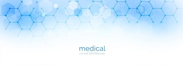 Banner hexagonal de ciencia médica y salud.
