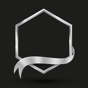 Banner hexagonal con cinta plateada ilustración vectorial para fondo de promoción y presentación