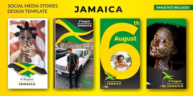 Banner de historias de redes sociales del día de la independencia de jamaica