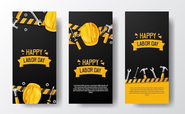 Banner de historias de redes sociales para el día del trabajo con trabajador de casco amarillo de seguridad 3d, martillo, llave inglesa, destornillador, con línea amarilla