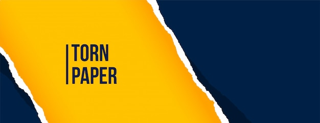 Banner de hoja de papel rasgado azul y amarillo