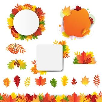 Banner con hojas de otoño aislado