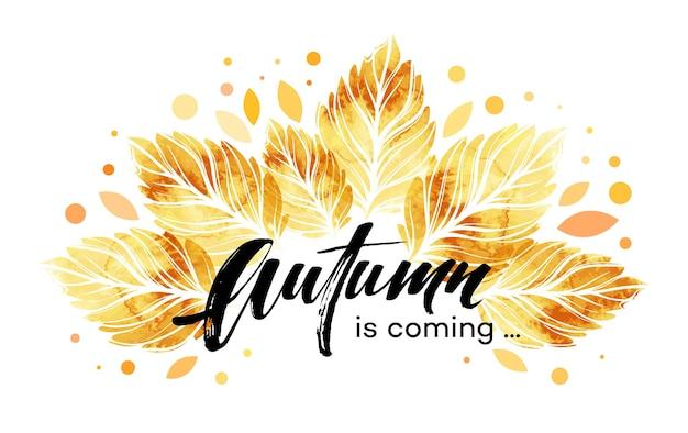 Banner de hojas de otoño pintado acuarela. diseño de fondo de otoño. ilustración de vector eps10