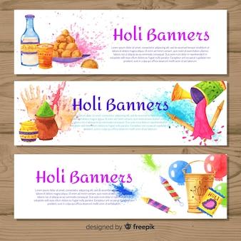 Banner de holi festival en acuarela