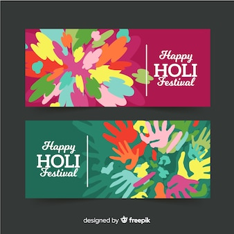 Banner de holi festival en diseño plano