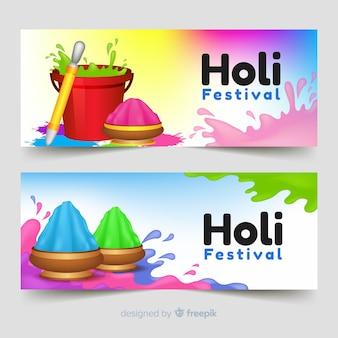 Banner de holi festival realista