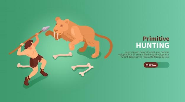 Banner de hombre de las cavernas de personas primitivas isométricas con imágenes de botón deslizante de texto de ilustración de tigre dientes de sable humano