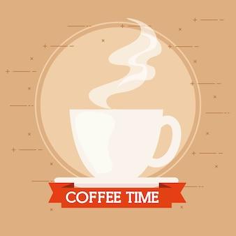 Banner de la hora del café con diseño de taza de cerámica.