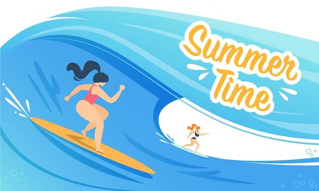 Banner de horario de verano con mujer surfeando sobre las olas