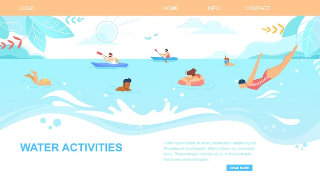 Banner horizontal de actividades acuáticas, gente disfrutando el horario de verano