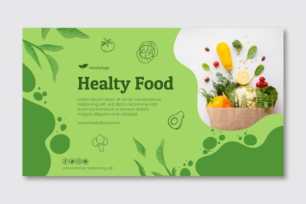 Banner horizontal de alimentos bio y saludables.