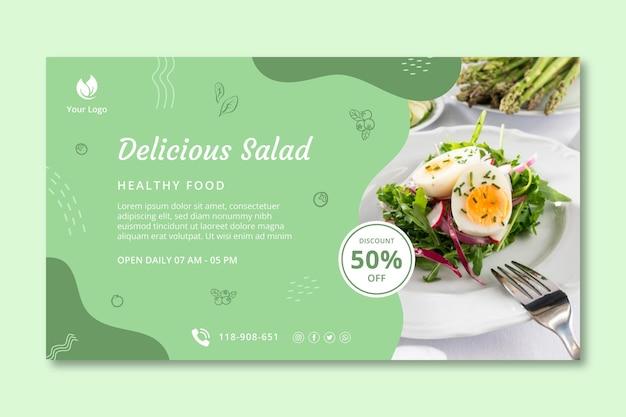 Banner horizontal de alimentos bio y saludables. Vector Premium