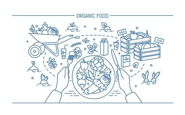 Banner horizontal con alimentos orgánicos. composición con verduras en plato, diferentes productos frescos, vegetación, frutas, bebidas. ilustración de vector monocromo en estilo lineart.
